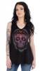 Women's V-Neck Calavera Lace Shirt - Skull - Daring Lace Back - SKU 7551-DS