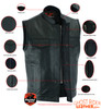 Leather Motorcycle Vest - Men's - Gun Pockets - Up To 12XL - Big and Tall - AM9192-DS