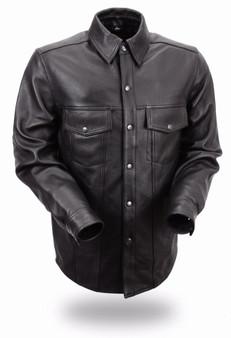 Milestone - Men's Motorcycle Leather Shirt - Up To Size 8X - SKU FIM403ES-FM