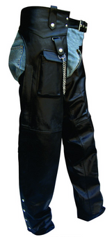 Motorcycle Leather Chaps With Cargo Pocket - SKU GRL-AL2408-AL