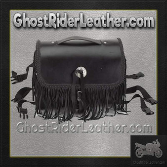 Motorcycle Leather Sissy Bar Bag with Studs and Fringe - SKU GRL-SB5008-LEATHER-DL