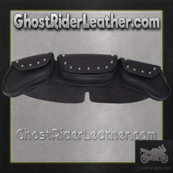 Motorcycle Windshield Bag Set with Studs and 3 Compartments / SKU GRL-WS23-DL