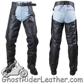 Naked Leather Chaps with Braid Design for Men or Women - SKU GRL-C4326-11-DL