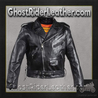 Naked Leather Motorcycle Police Style Jacket with Side Laces and Vents - SKU GRL-MJ201-DL