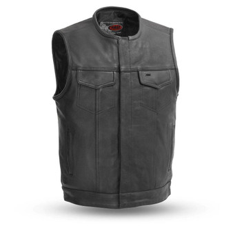 No Rival - Men's Leather Club Style Vest - SKU GRL-FIM639NOC-FM