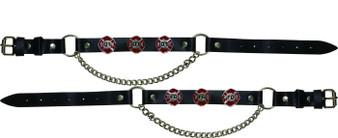 Pair of Biker Boot Chains - Fire Department - SKU GRL-BC16-DL