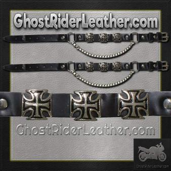 Pair of Biker Boot Chains - Iron Cross - SKU GRL-BC3-DL