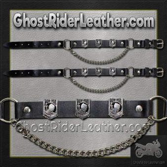 Pair of Biker Boot Chains - POW MIA - SKU GRL-BC11-DL