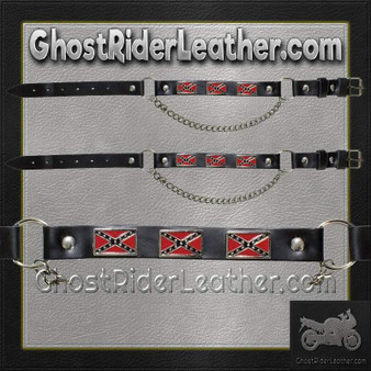 Pair of Biker Boot Chains - Rebel Flag - SKU GRL-BC5-DL