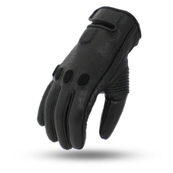 Pinnacle - Men's Leather Motorcycle Gloves - Full Finger - SKU FI212-FM