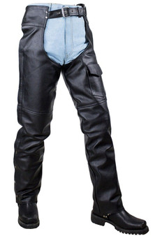 Plain Motorcycle Leather Chaps for Men or Women - SKU GRL-C4325-04-DL