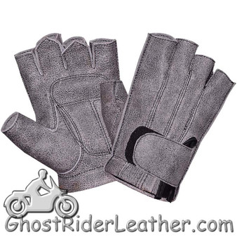 Premium Fingerless Gunsmoke Gray Leather Motorcycle Riding Gloves - SKU GRL-8133.GN-UN