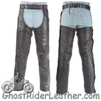 Premium Naked Leather Chaps With Thigh Stretch for Men or Women - SKU GRL-C332-11-DL