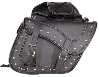 PVC Motorcycle Saddlebags With Braid and Studs - SKU SD1485-PV-DL