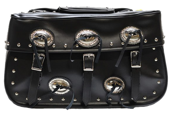 PVC Large Motorcycle Saddlebags With Conchos and Studs - SKU SD4000-PV-DL