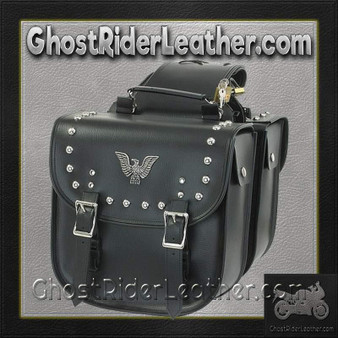 PVC Motorcycle Saddlebags With Eagle and Studs / SKU GRL-SD4070-PV-DL