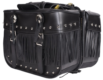 PVC Motorcycle Saddlebags With Fringe and Studs - SKU SD4030-PV-DL