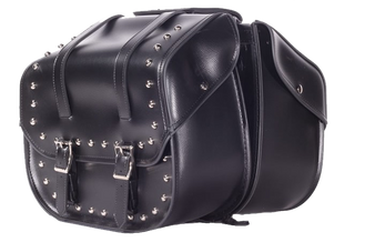 PVC Motorcycle Saddlebags With Studs - Motorcycle Luggage - SKU SD4080-PV-DL