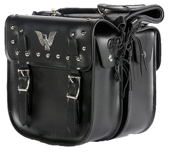 PVC Motorcycle Saddlebags With Studs and Eagle - SKU SD4071-PV-DL