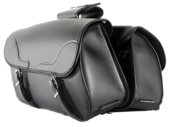 PVC Motorcycle Slanted Saddlebags - Motorcycle Luggage - SKU SD4089-NS-PV-DL