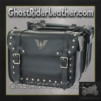 PVC Motorcycle Studded Saddlebags with Eagle / SKU GRL-SD4076-PV-DL