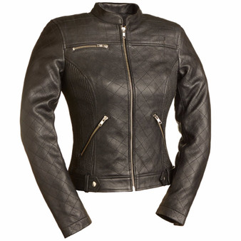 Queen of Diamonds - Women's Motorcycle Leather Jacket - SKU FIL115SCZ-FM