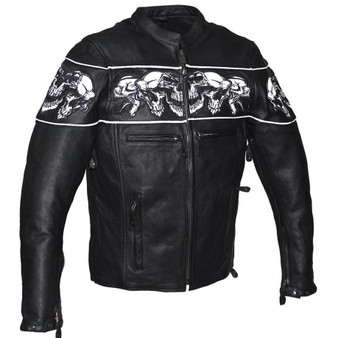 Racer Leather Jacket with Reflective Skulls and Concealed Carry Pocket - SKU MJ825-11-DL