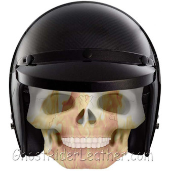 Real Carbon Fiber DOT Open Face 3/4 Motorcycle Helmet - SKU GRL-RM-68-HI