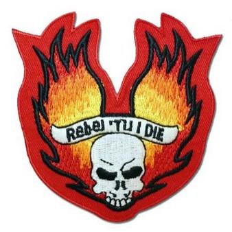 Rebel Till I Die Skull Flames Patch - SKU GRL-PAT-D566-DL