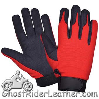 Red Orange and Black Textile Mechanics Gloves - SKU GRL-8115.00-UN