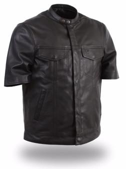 Renegade - Men's Jean Pocket Front Styled Leather Shirt With Short Sleeves - SKU FIM410SDL-FM