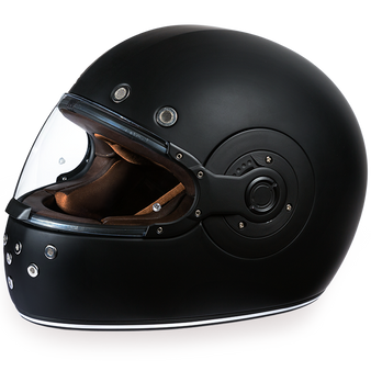 Retro Dull Black - Full Face Motorcycle Helmet - SKU GRL-R1-B-DH