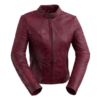Rexie - Women's Leather Motorcycle Jacket - Sangria - Navy Blue - Dark Cognac - WBL1383-WB