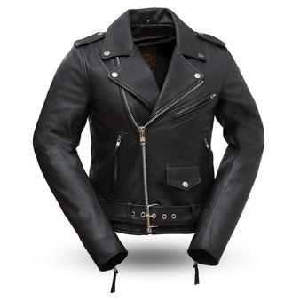 Rockstar - Women's Black Leather Motorcycle Jacket - SKU FIL182CHMZ-FM