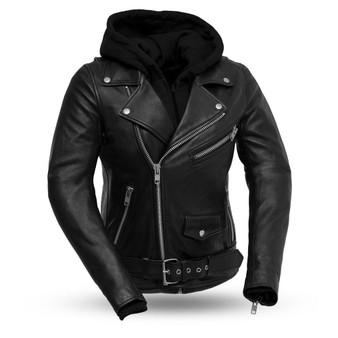 Ryman - Women's Leather Biker Jacket With Removable Hoodie Sweatshirt - SKU FIL185SDMZ-FM