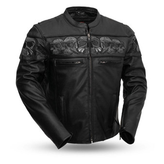 Savage Skulls - Men's Motorcycle Leather Jacket - SKU GRL-FIM243CSLZ-FM
