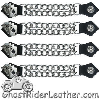 Set of Four Deadmans Hand Vest Extenders with Chrome Chain - SKU GRL-AC1046-DL