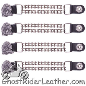 Set of Four Eagle Vest Extenders with Chrome Motorcycle Chain - SKU GRL-AC1066-BC-DL