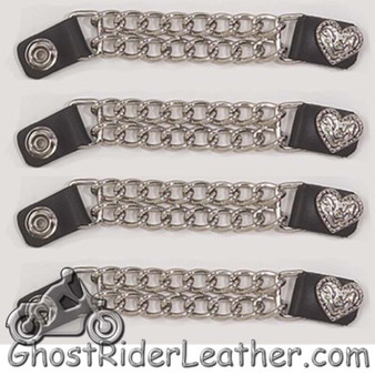 Set of Four Fancy Heart Vest Extenders with Chrome Chain - SKU GRL-AC1078-DL