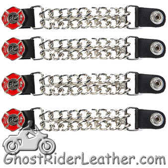 Set of Four Fire Department Vest Extenders with Chrome Chain - SKU GRL-AC1097-FD-DL