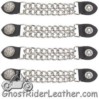 Set of Four Indian Head Nickel Vest Extenders with Chrome Chain - SKU GRL-AC1054-DL
