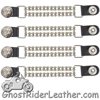 Set of Four Indian Head Nickel Vest Extenders with Chrome Motorcycle Chain - SKU GRL-AC1054-BC-DL