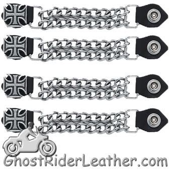 Set of Four Iron Cross Vest Extenders with Chrome Chain - SKU GRL-AC1053-DL