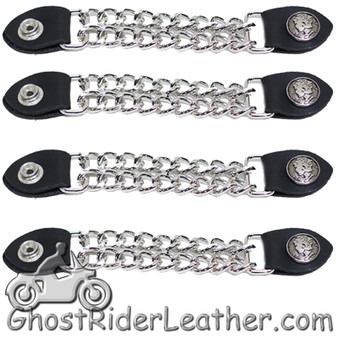Set of Four Lady Liberty Silver Dime Vest Extenders with Chrome Chain - SKU GRL-AC1073-DL
