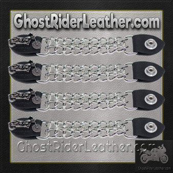 Set of Four Motorcycle Vest Extenders with Chrome Chain / SKU GRL-AC1100-DL