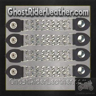 Set of Four Plain Snap On Vest Extenders with Chrome Chain / SKU GRL-AC1050-DL