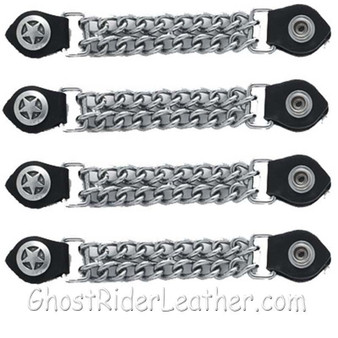 Set of Four Police Star Vest Extenders with Chrome Chain / SKU GRL-AC1063-DL