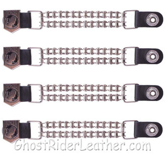 Set of Four POW MIA Vest Extenders with Chrome Motorcycle Chain / SKU GRL-AC1065-BC-DL