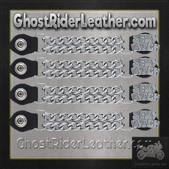 Set of Four Sexy Bitch Vest Extenders with Chrome Chain / SKU GRL-AC1059-DL