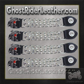 Set of Four Skull Crossbones Red Eye Vest Extenders with Chrome Chain / SKU GRL-AC1080-DL